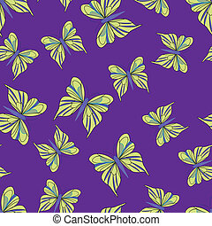 Seamless pattern with yellow butterflies on the purple...