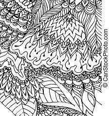 Black and white template Doodle drawing Hand-drawn pattern...