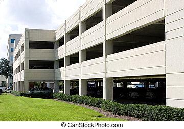 Modern Parking Garage - Modern four level parking garage is...