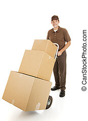 Moving Man Delivers Boxes - Handsome moving man or courier...