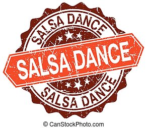 salsa dance orange round grunge stamp on white