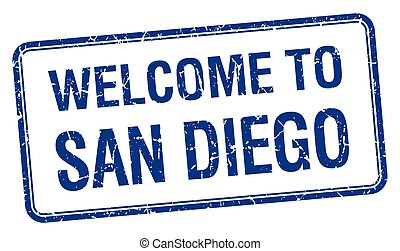 welcome to San Diego blue grunge square stamp