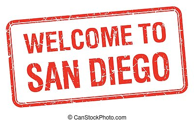welcome to San Diego red grunge square stamp