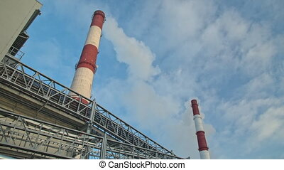 Industrial chimney smoke background - Smoke from factory...