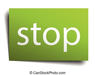 stop square paper sign isolated on white