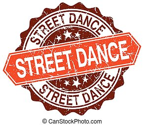 street dance orange round grunge stamp on white