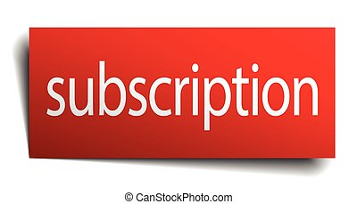 subscription red paper sign isolated on white
