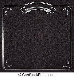 blackboard background with ribbon and border