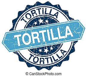 tortilla blue round grunge stamp on white