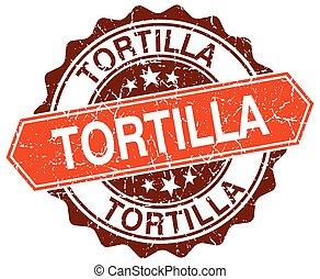 tortilla orange round grunge stamp on white