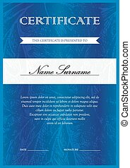 Certificate and diploma template - Vertical blue certificate...