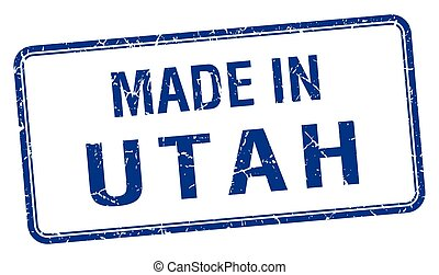 made in Utah blue square isolated stamp