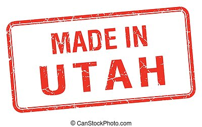 made in Utah red square isolated stamp
