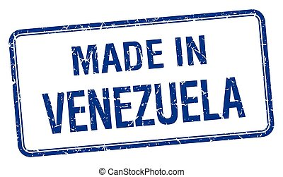 made in Venezuela blue square isolated stamp