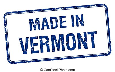 made in Vermont blue square isolated stamp