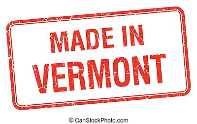made in Vermont red square isolated stamp
