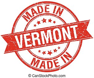 made in Vermont red round vintage stamp