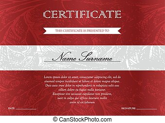 Certificate and diploma template - Gorizontal red...