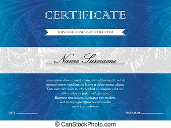 Certificate and diploma template - Gorizontal blue...