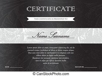 Certificate and diploma template - Gorizontal black dark...