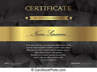 Certificate and diploma template - Gorizontal black dark and...