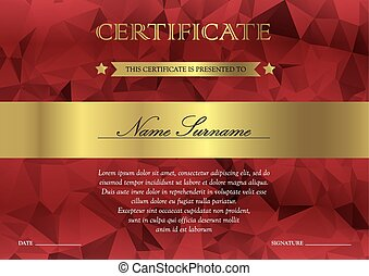 Certificate and diploma template - Gorizontal red and gold...