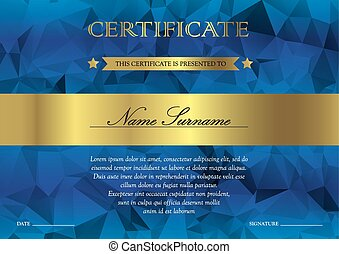 Certificate and diploma template - Gorizontal blue and gold...