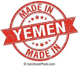made in Yemen red round vintage stamp