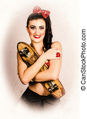 Vintage portrait of a pin-up model with skateboard