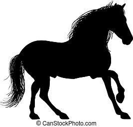 A Silhouette of a horse entire - Drawing of a horse's figure...
