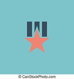 Order with star. Colorful vector icon. Simple retro color...
