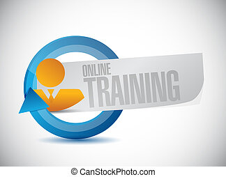 Online Training avatar cycle sign concept illustration...