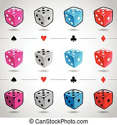 Colorful Dices and Card Suits - Vector Illustration 3d...