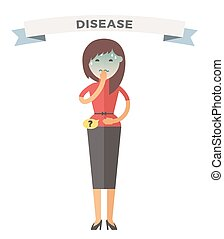 Illness girl vector illustration Seasonal virus attack Woman...