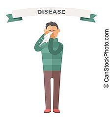 Man illness vector illustration Seasonal virus attack Man...