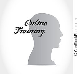 Online Training brain sign concept illustration design...
