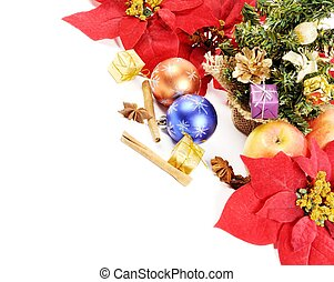 Christmas decoration and apples, on a white background