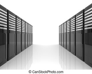 Server Room - 3D Illustration. Isolated on white.