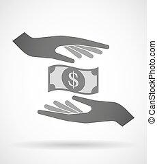 Two hands protecting or giving a dollar bank note -...
