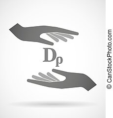 Two hands protecting or giving a drachma currency sign -...