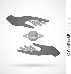 Two hands protecting or giving the planet Saturn
