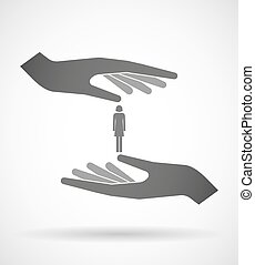 Two hands protecting or giving a female pictogram