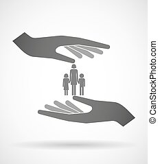 Two hands protecting or giving a female single parent family pictogram