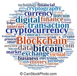 Words cloud with Blockchain - Illustration with word cloud...