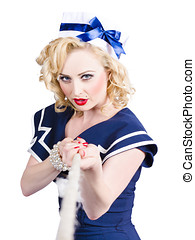 Strong sailor pin-up model pulling on tough rope - Strong...
