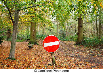No entry traffic sign in forest