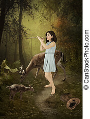 Forest idyll - Little girl playing the flute in a forest...