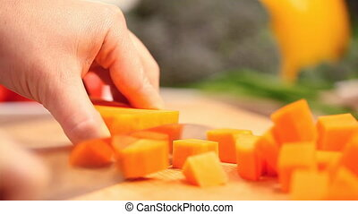 cutting fresh pumpkin, preparation for cooking