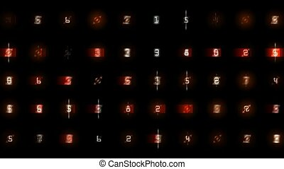 digit and color morph square background,seamless loop,1080p