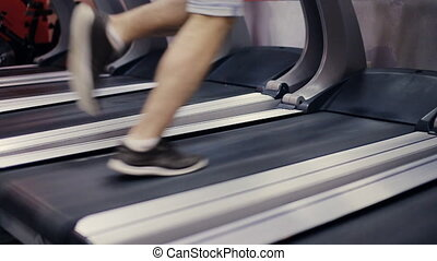 Running on a treadmill slow motion